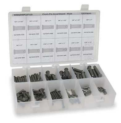 Clevis Pin Asst,Std,18-8,120 Pcs,12Sizes ITW BEE LEITZKE WWG-DISP-CLPS120-1