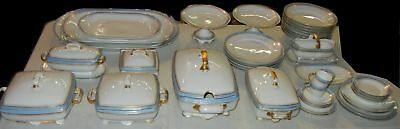 51 Pieces Antique JPL France Jean Pouyat Limoges China Gold Blue Dinner Service