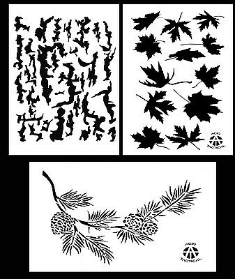 """3Pack! Spray Paint Camouflage Stencils 14"""" Tree Bark - Leafy Maple - Pine Branch"""