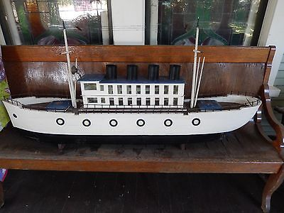 """Folk Art Maritime Freighter Ship, """"Large"""", """"Rare"""", Early 1900's, Model, 61 in."""