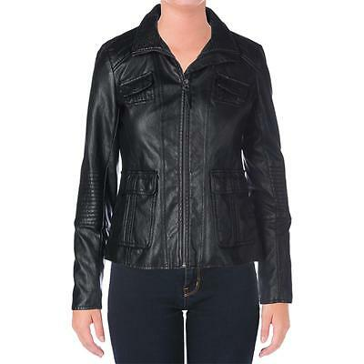 Lucky Brand 9354 Womens Black Faux Leather Motorcycle Jacket Coat XS BHFO
