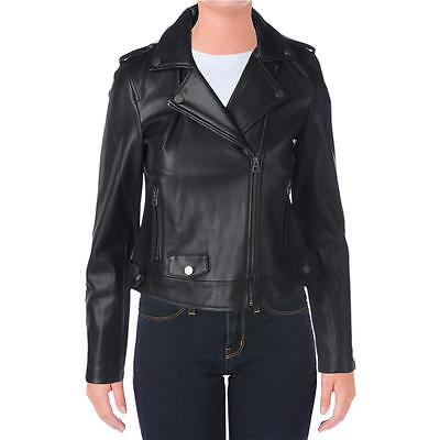 Lucky Brand 9464 Womens Black Faux Leather Bonded Motorcycle Jacket Coat S BHFO