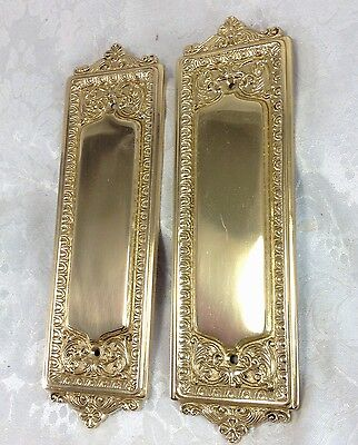 Vintage Ornate Brass Push Plates Set Pair Small Scrolls French Style Door Plates