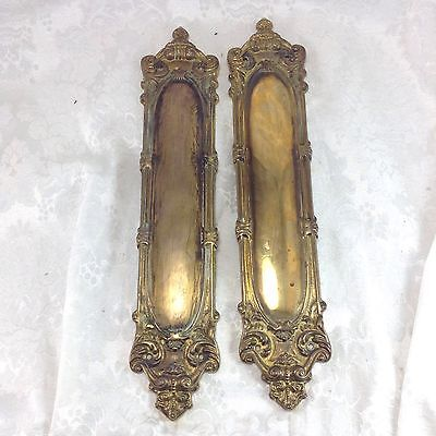 "Vintage Ornate Brass 15"" Push Plates Door Hardware Set Pair French Style"