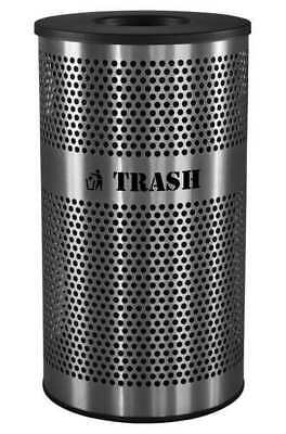 33 gal. Black Stainless Steel Round Trash Can TOUGH GUY 5UJC2