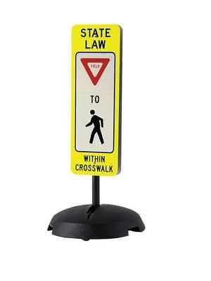 Traffic Sign w/Base,36 x 12In,R, BW/YEL TAPCO 373-03140B