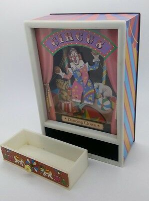 Vintage Laurel Yaps Circus DANCING CLOWN wind up Musical Jewel Box