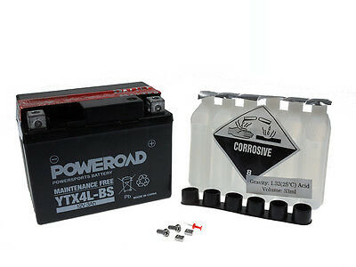 Battery MF Poweroad YTX4L-BS Kymco ZX 50 II Super Fever SC10A/S45AW 2004-2007