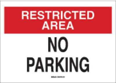 No Parking Sign,10 x 14In,R and BK/WHT BRADY 25868