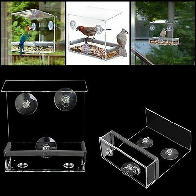 Clear Window Bird Squirrel Feeder Feeding Birdhouse With Suction Tray Cup Mount