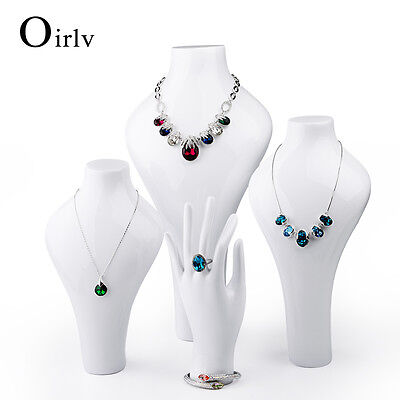 Oirlv Jewelry Ring Necklace Display Bust Neck Model for Shop Window White Statue