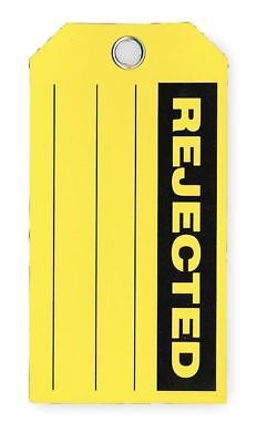 Rejected Tag,3 x 5-3/4 In,Bk/Yel,PK100 ZORO SELECT 2RMX9