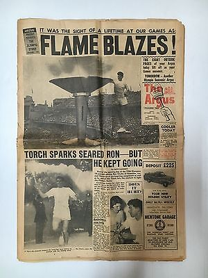 """Olympic Games 1956 Souvenir """"the Argus"""" Flame Blazes! Whole Newspaper 26 Pages"""