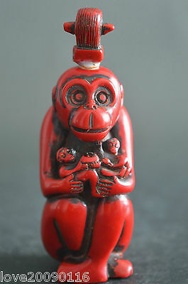 Decorated Wonderful Coral Carve Monkey Auspicious Lucky Snuff Bottle