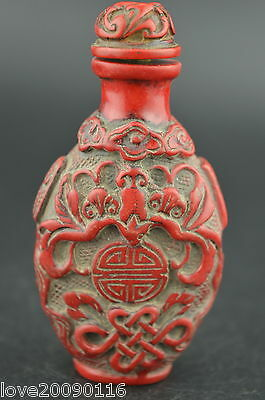 Decorated Coral Carving Chinese Knot & Bat Rare Happiness Lucky Snuff Bottle