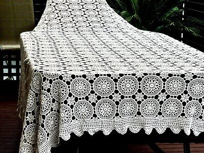 A Wonderful Vintage Hand Made  Crochet White  Cotton   Large Tablecloth / Bedspr