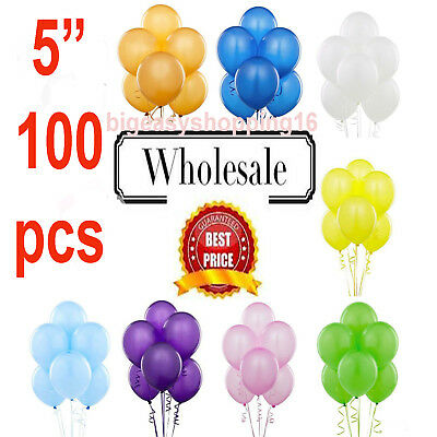 Quality 5 Inch Round Plain Latex Party Balloons (Pack Of 25 - 200) (100 Colours)