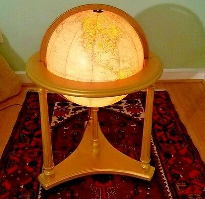 "Vintage Replogle 16"" Heirloom Lighted World Globe W/ Floor Stand Base Lamp"