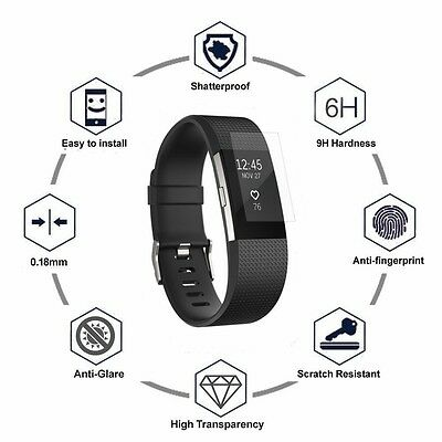 Premium Screen Protector Film HD 5-Pack For A Fitbit Charge 2 Full Coverage HD