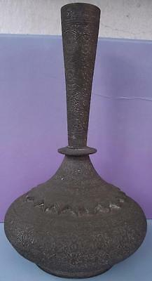 Antique Islamic Copper Beautifully Engraved Flower Vase Persia Middle East