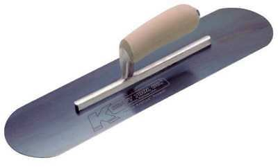 KRAFT TOOL CF277B Pool Trowel,Round,4 x 14 in,Blue Steel