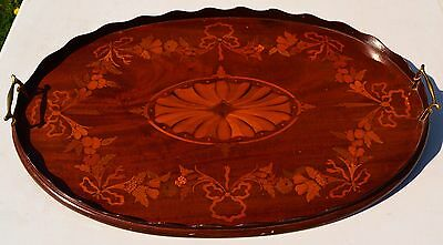 A Superb Edwardian Sheraton Revival Marquetry Inlaid Wooden Butlers Tray c.1910