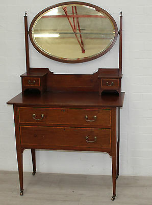 Antique Dressing Table Vanity Unit , With Drawers, Pivoting Mirror & Inlay