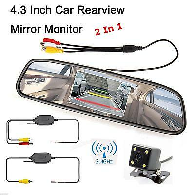 """Parking System - Wireless Backup Camera + 4.3"""" TFT LCD Color Car Mirror Monitor"""