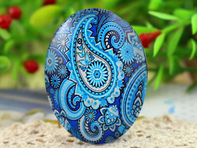 30x40mm Printed Glass Cabochons | 2pcs | Blue Paisley Design