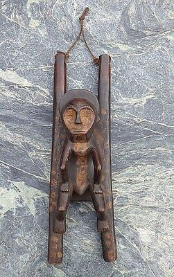 Large African Tribal Art Carved Wooden Congo Moble Hanged Figure No Lega Luba Nr