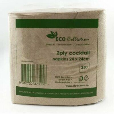 Eco Natural Kraft Brown 2 Ply Cocktail Napkins Pk 250