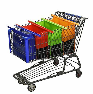 Modern shopping cart - 4 bags Reusable grocery - easy to use Heavy duty