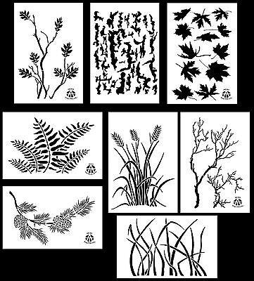"8Pack! Spray Paint Camouflage Stencils 10 Mil DIY Camo Templates 14"" (8 Designs)"