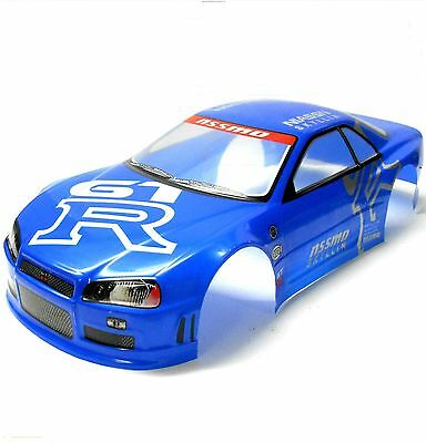 H020B 1/10 Scale Drift On Road Touring Car Body Cover Shell RC Blue + Spoiler