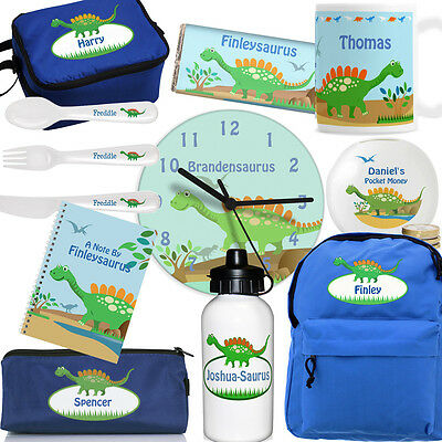DINOSAUR GIFTS. Personalised Gift For Children. Bag, Mug, Cutlery, Plate, Bottle