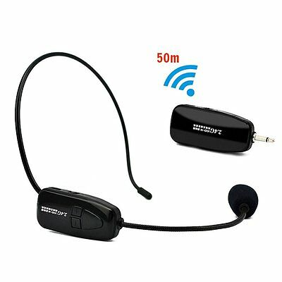 NEWGOOD 2.4Ghz Wireless Headset Microphone With MIC For Voice Amplifier Black