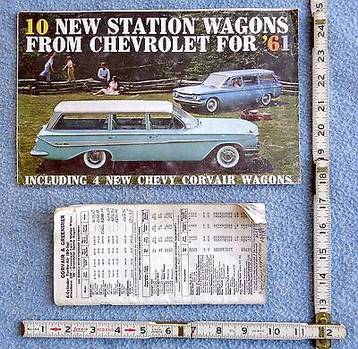 1961 CHEVY CHEVROLET BROCHURE automobile CAR corvair wagon & DEALER PRICE BOOK