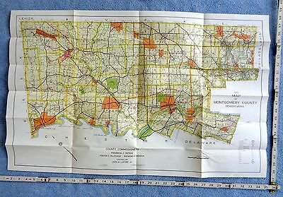 1950 Road Map of Montgomery County Pennsylvania abuts philadelphia MEMORIAL ARCH