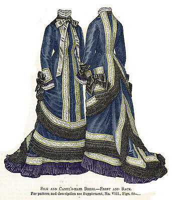 Pattern for Victorian 1876 Silk Dress - Sized for you