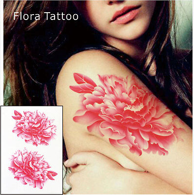 Pink Roses Flower Temporary Tattoos Stickers Body Art 3D Rose Waterproof