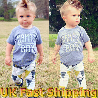 Infant Newborn Baby Boys Kids T-shirt Tops+Pants Leggings Outfit Clothes Set UK