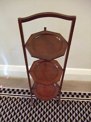 Vintage 3-tier Collapsible Wooden Cake Stand by 'Novelty'