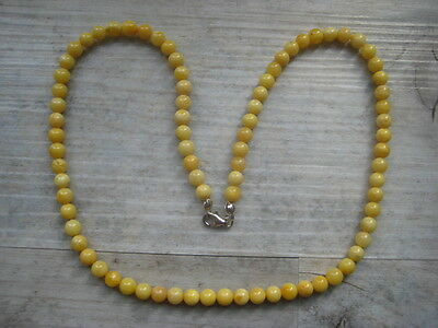 Bernsteinkette Baltic Amber Necklace White-Yellow Beads Balls