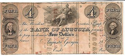 BANKNOTE - 1860's $4 Bank of Augusta, Georgia - Dual Sided (CSA)