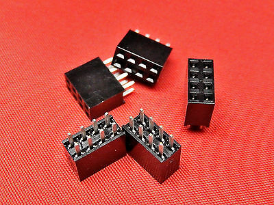 4+4 Way PCB Header Socket Strip DOUBLE ROW Gold Plated TFH08DS
