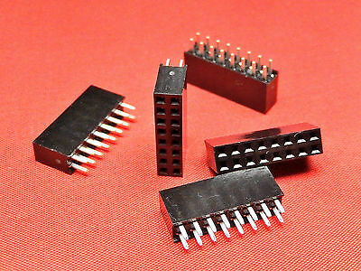 8+8 Way PCB Header Socket Strip DOUBLE ROW Gold Plated TFH16DS