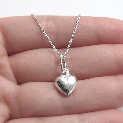925 Sterling Silver Small Puffed Heart Charm with Necklace