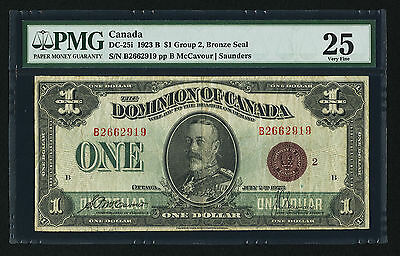 CANADA DC-25i 1923 b $1 GROUP 2 BRONZE SEAL DOMINION of CANADA (PMG) VF-25 RARE