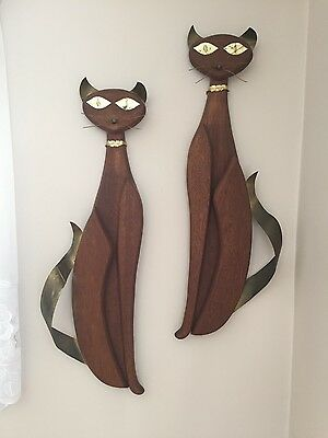 Pair of Antique wood and metal vintage mid-century cat wall scultures 1960s