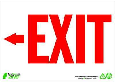 ZING 1082A Exit Sign,7 x 10In,R/WHT,Recycled AL,ENG